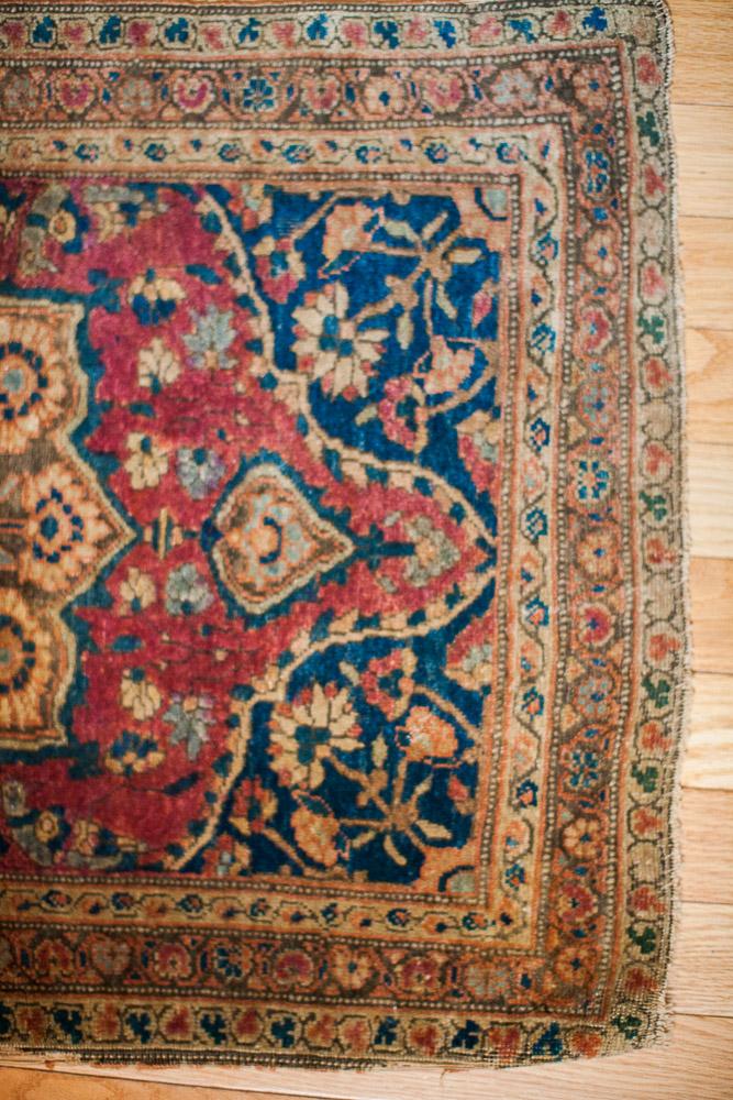 Antique Farahan Sarouk rug mat