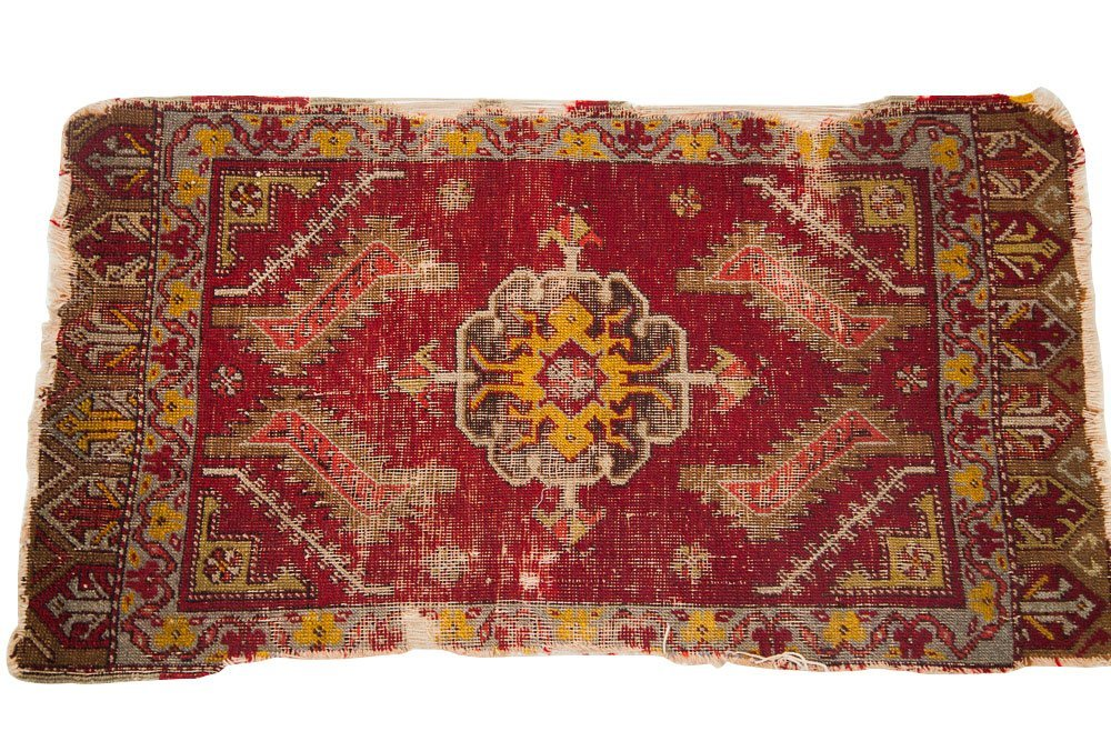 Antique red Turkish rug mat