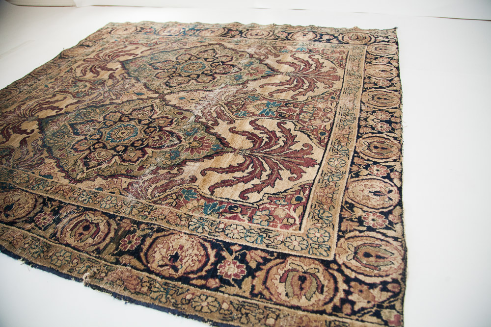Antique Persian square Kerman rug