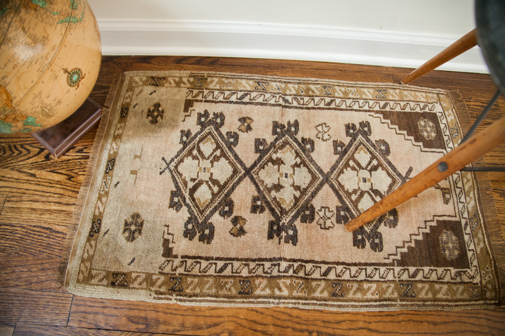 Vintage Small Turkish Oushak Rug Mat