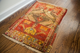 Small Vintage Turkish Oushak Rug
