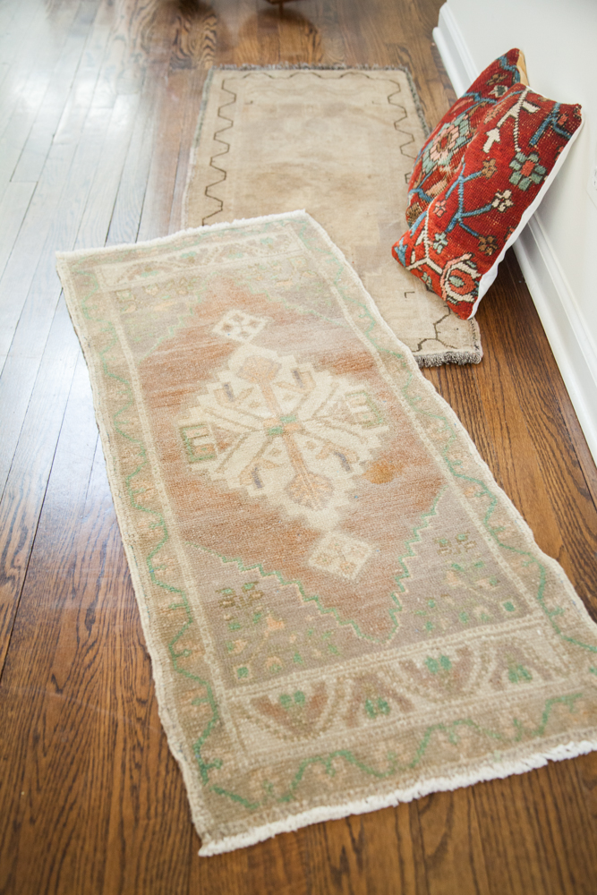 Vintage faded Oushak Rug