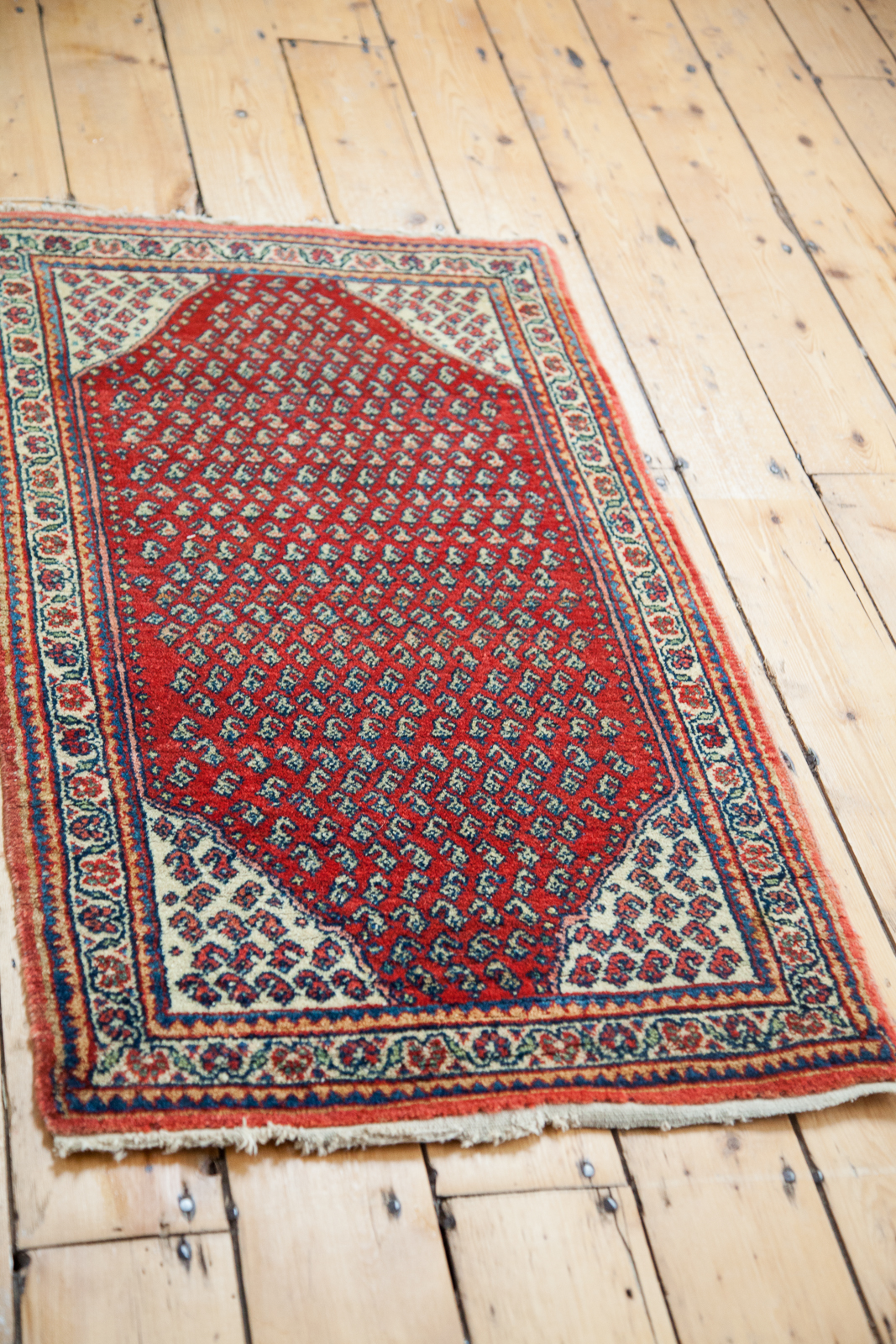 Vintage orange Persian Mir Sarouk Rug