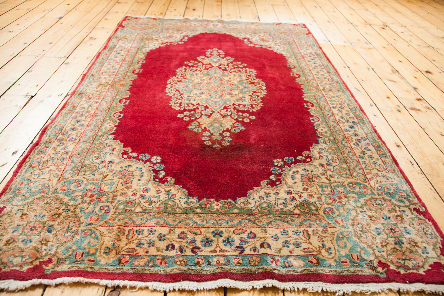 Vintage Red Crown Kerman Rug