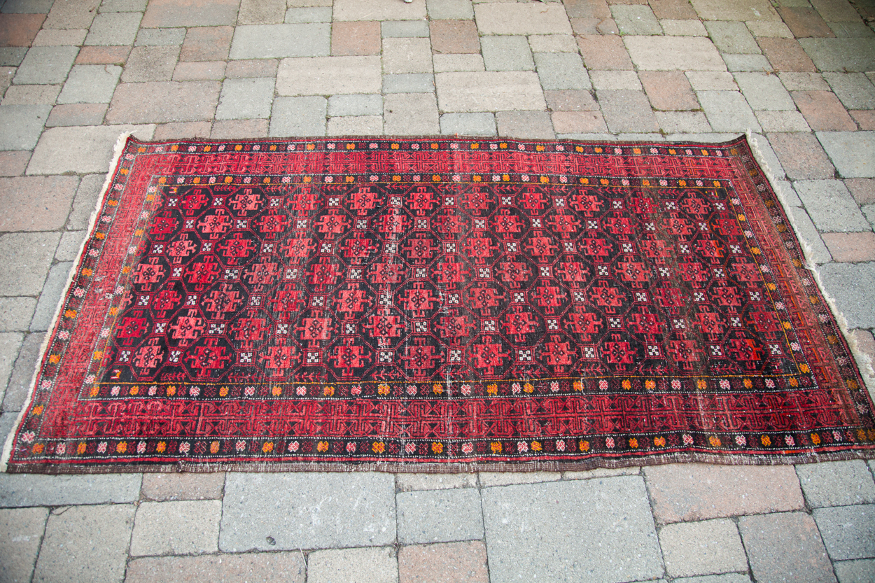 Vintage Red Afghani Rug