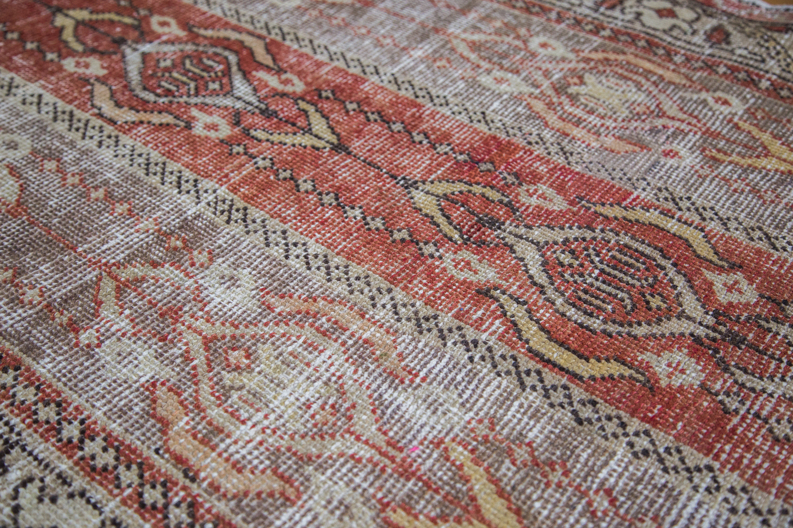 Distressed Oushak Rug Runner