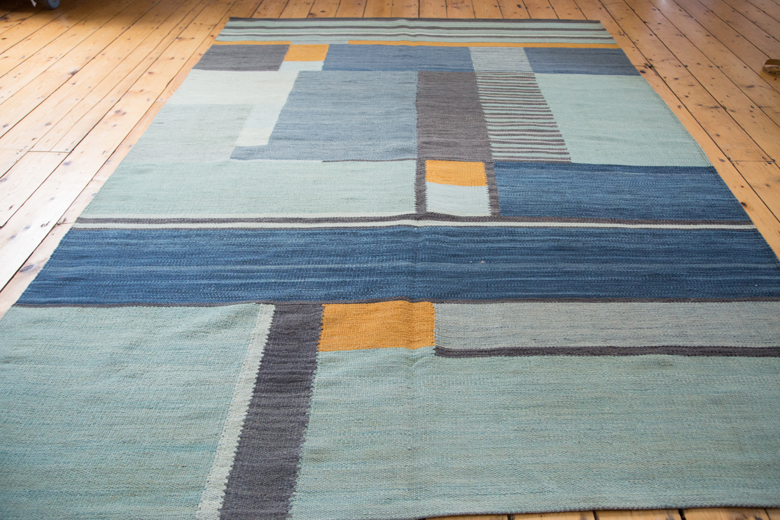 Blue & Yellow Abstract Kilim