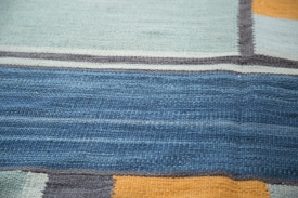 Blue & Yellow Abstract Kilim