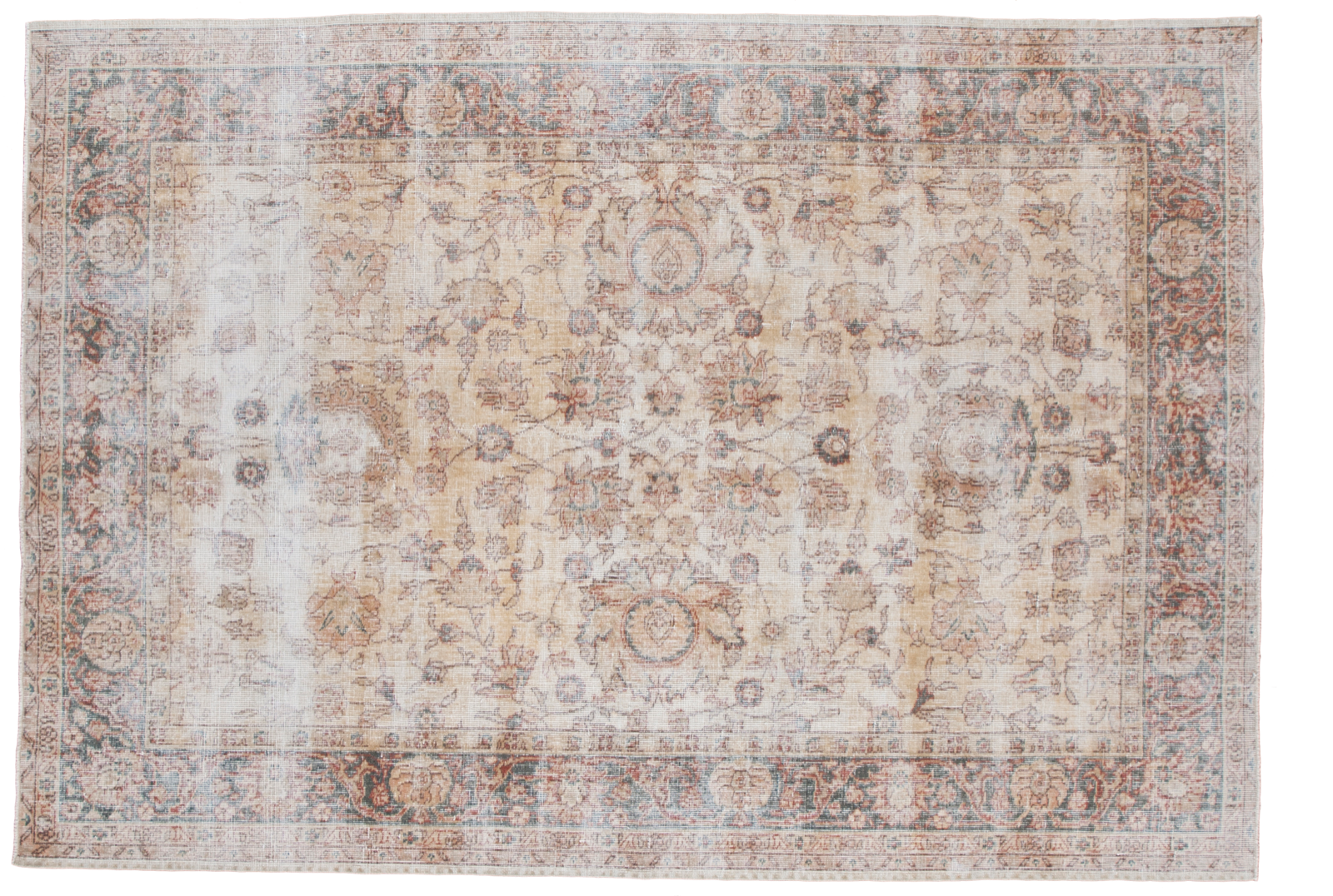 Vintage Distressed Gold Sparta Rug