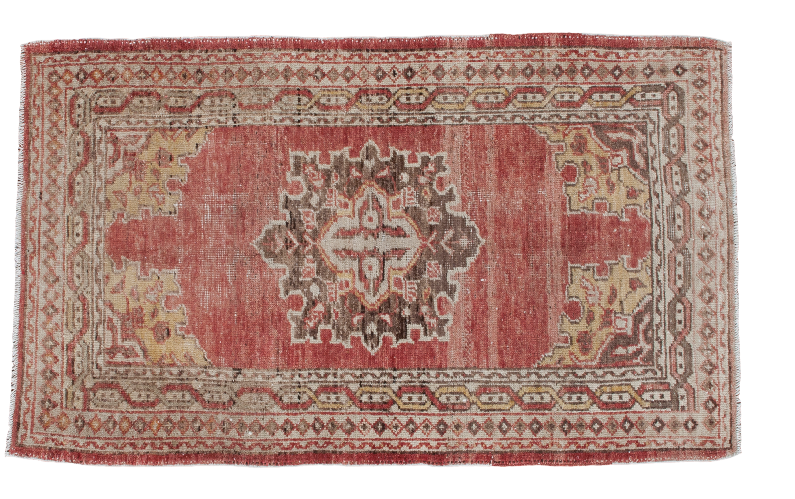 Classic Vintage Oushak with Brick Red and Soft Saffron