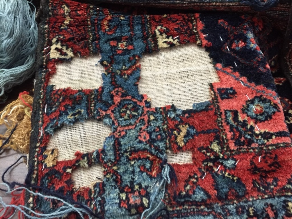 Oriental Rug with Damage