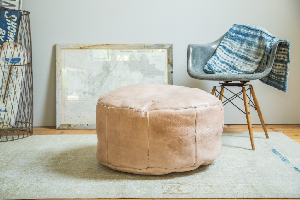 Large Leather Moroccan Pouf