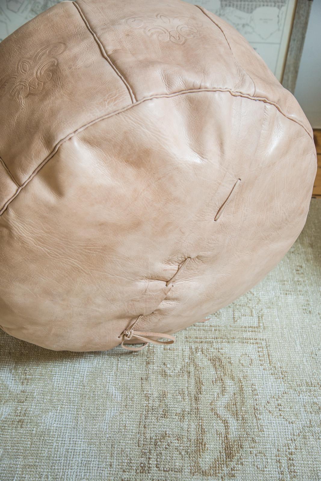 Antique Revival Leather Ottoman Moroccan Poufs